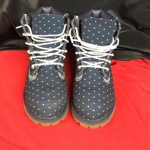 Timberland Shoes - Blue denim and white pot a dot Timberland boots